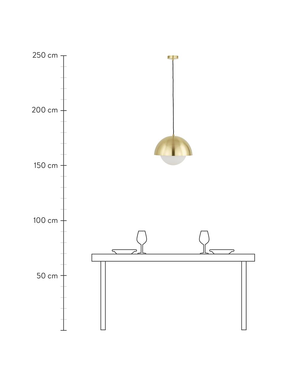 Hanglamp Lucille met opaalglas, Baldakijn: geborsteld metaal, Lampenkap: glas, Messingkleurig, wit, Ø 35  x H 30 cm