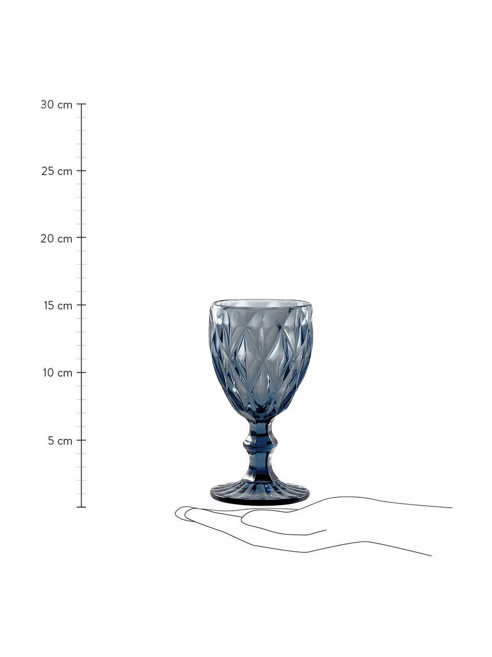 Wijnglazenset Diamond met structuurpatroon, 6-delig, Glas, Blauw, licht transparant, Ø 8 x H 16 cm