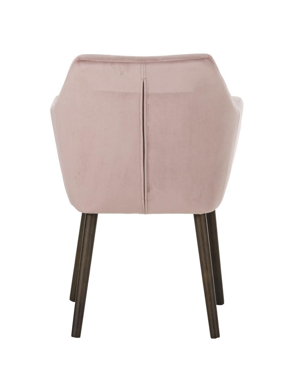 Chaise velours pieds en bois Nora, Velours rose, pieds brun foncé