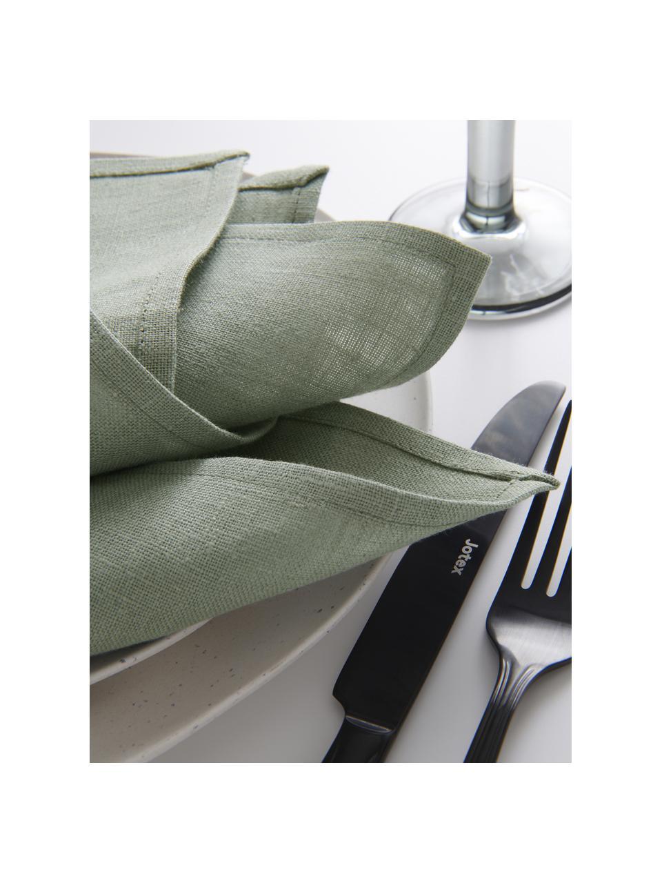 Tovagliolo in lino grigio verde Heddie 2 pz, 100% lino, Grigio-verde, Larg. 45 x Lung. 45 cm