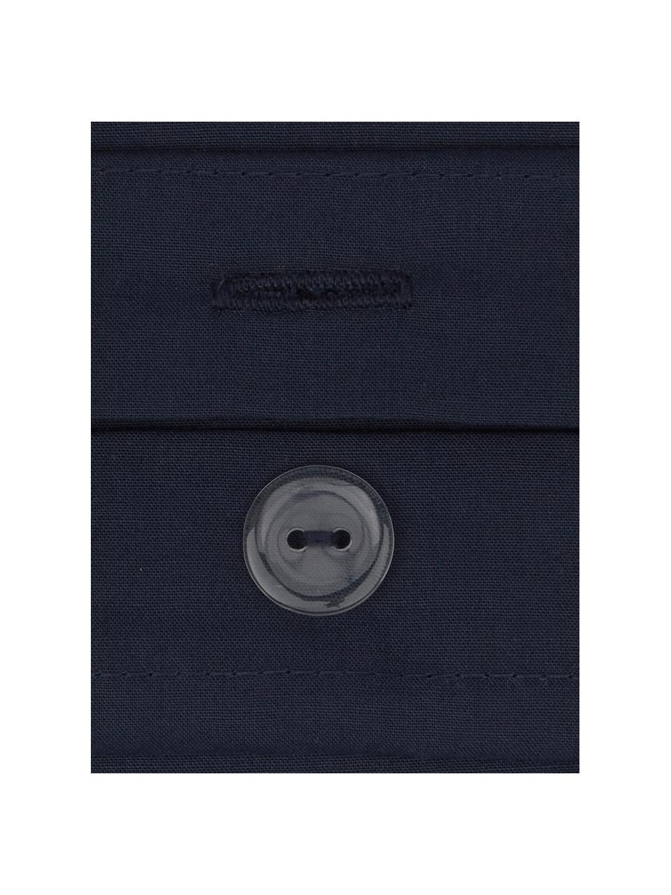 Pościel z perkalu Elsie, Ciemny niebieski, 135 x 200 cm + 1 poduszka 80 x 80 cm