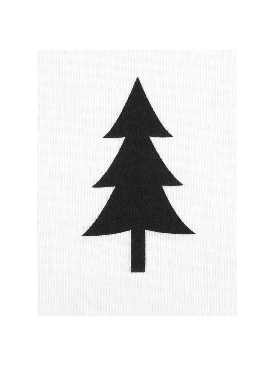 Flanell-Kissenbezüge X-mas Tree mit Tannenbäumen, 2 Stück, Webart: Flanell Flanell ist ein k, Weiß, Schwarz, 40 x 80 cm