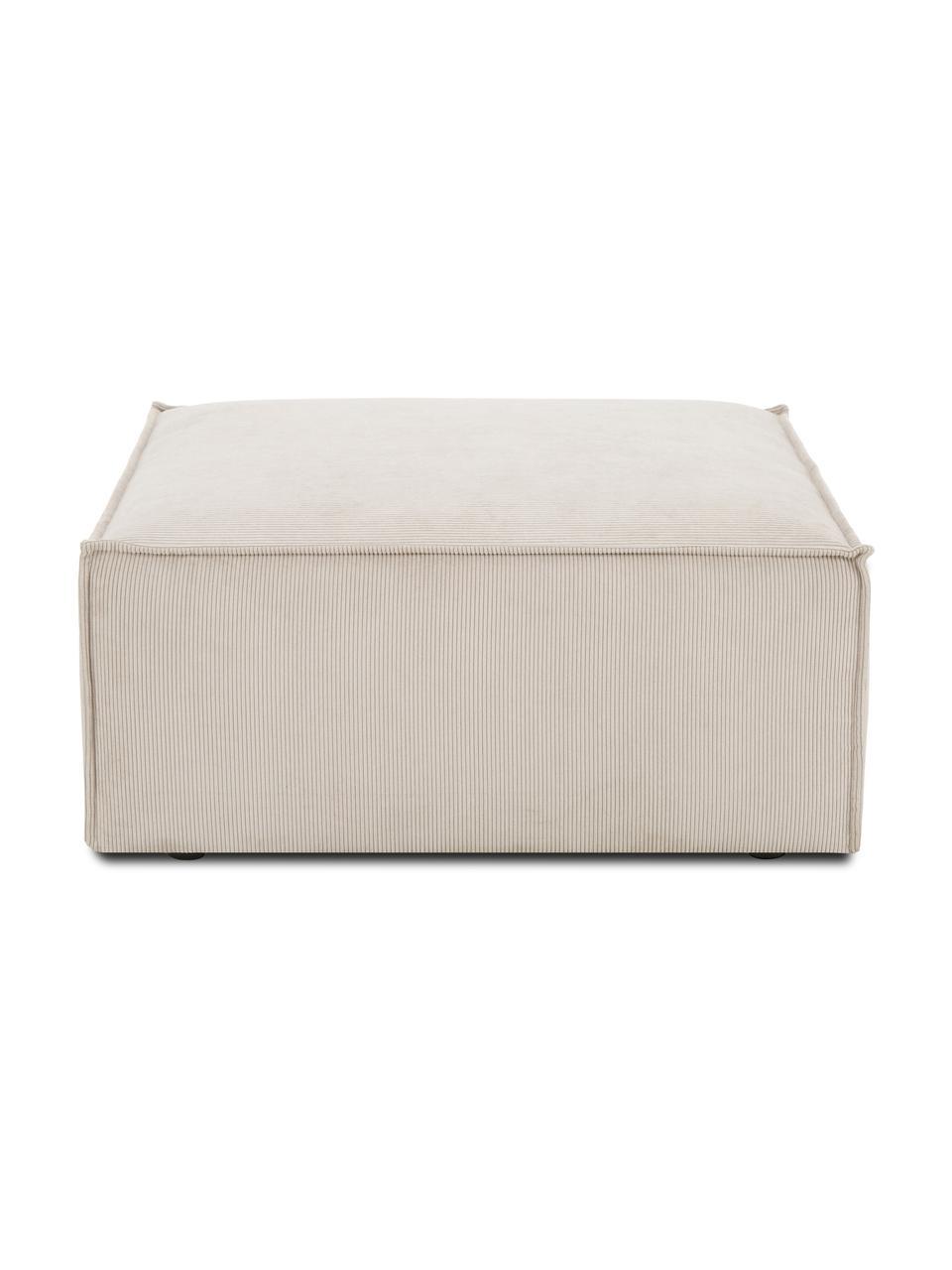 Poggiapiedi da divano in velluto a coste beige Lennon, Rivestimento: velluto a coste (92% poli, Struttura: legno di pino massiccio, , Piedini: plastica I piedini si tro, Velluto a coste beige, Larg. 88 x Alt. 43 cm