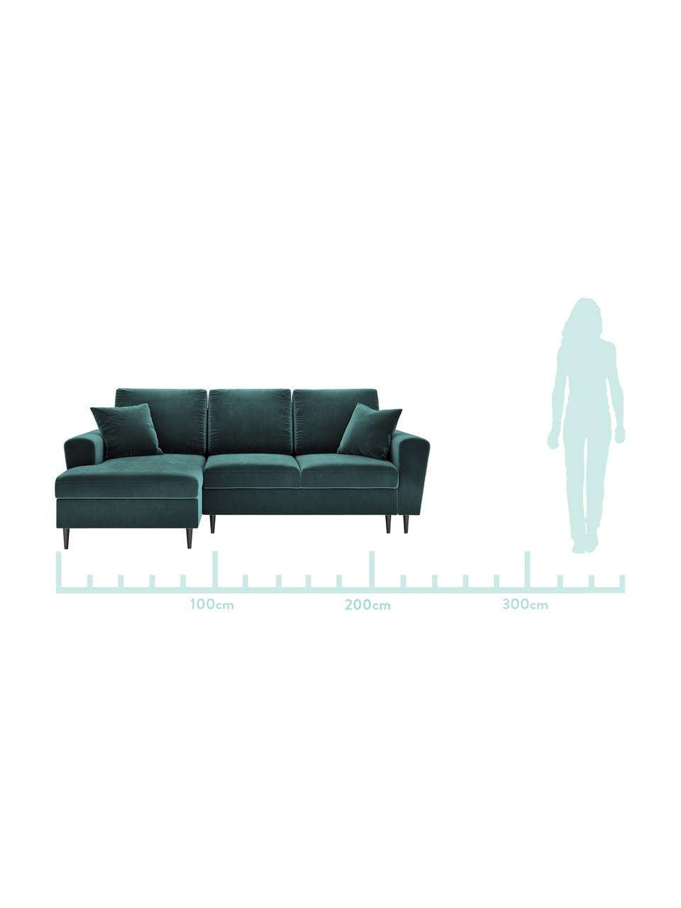 Sofa narożna z funkcją spania z miejscem do przechowywania Moghan (4-osobowa), Tapicerka: aksamit poliestrowy Dzięk, Stelaż: lite drewno sosnowe, skle, Nogi: metal lakierowany, Zielony, S 236 x G 145 cm (lewostronna)