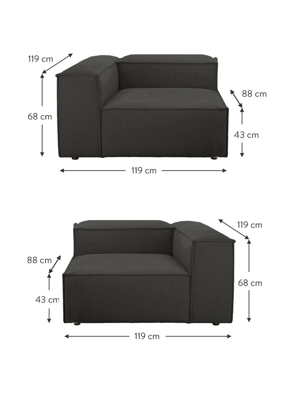Sofá modular Lennon (3plazas), Tapizado: poliéster Alta resistenci, Estructura: madera de pino maciza, ma, Patas: plástico Las patas están , Tejido gris antracita, An 238 x F 119 cm
