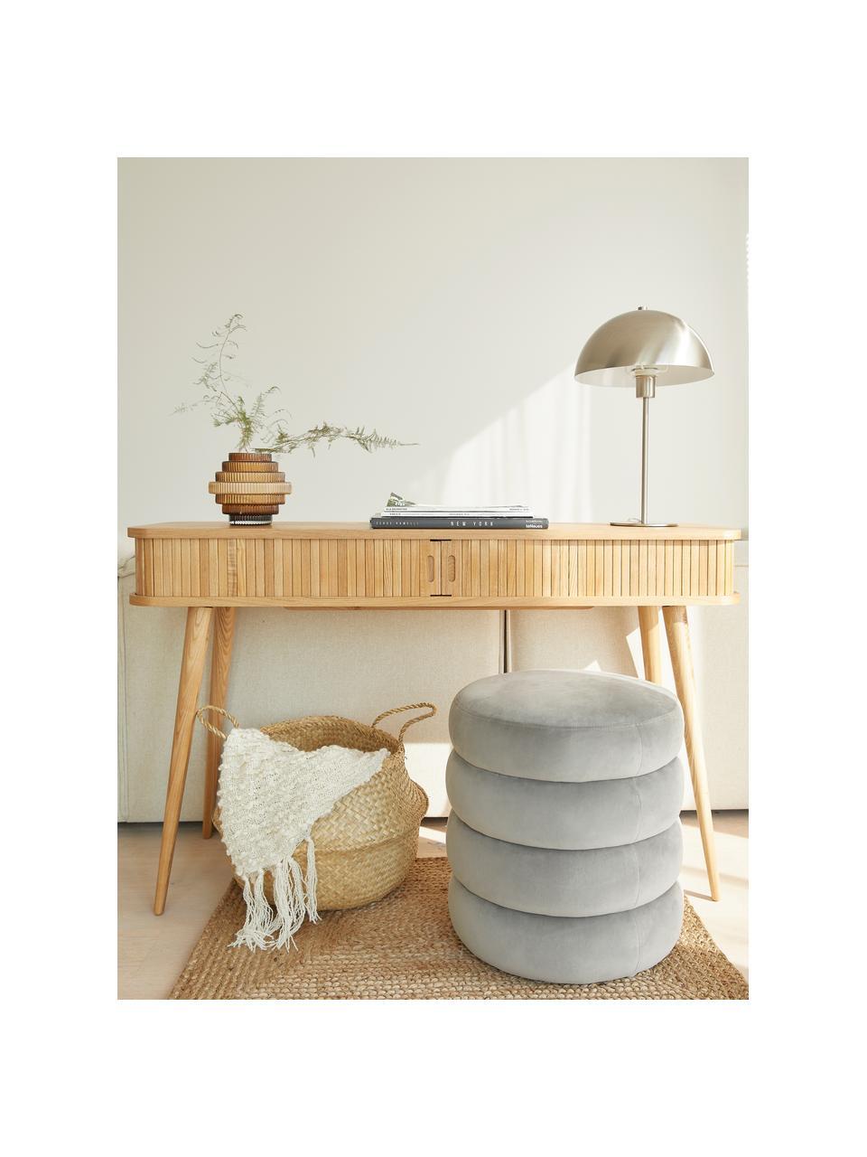Lampa stołowa z metalu Matilda, Nikiel, Ø 29 x W 45 cm