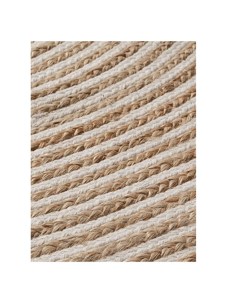 Tappeto rotondo in juta color beige/bianco con motivo a spirale Samy, 60% juta, 40% cotone, Juta, bianco latteo, Ø 150 cm (taglia M)