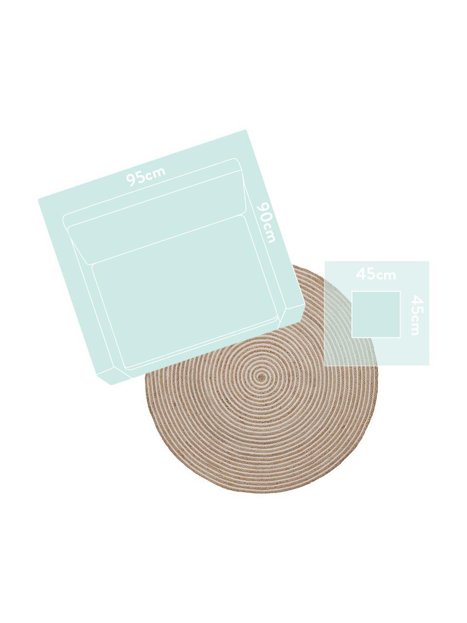 Runder Jute-Teppich Samy mit Spiralmuster in Beige/Weiß, 60% Jute, 40% Baumwolle, Jute, gebrochenes Weiß, Ø 150 cm (Größe M)