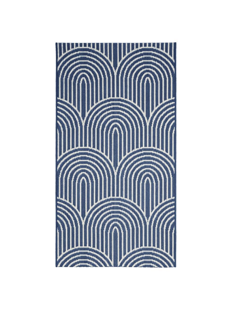 Tappeto blu/bianco da interno-esterno Arches, 86% polipropilene, 14% poliestere, Blu, bianco, Larg. 200 x Lung. 290 cm (taglia L)