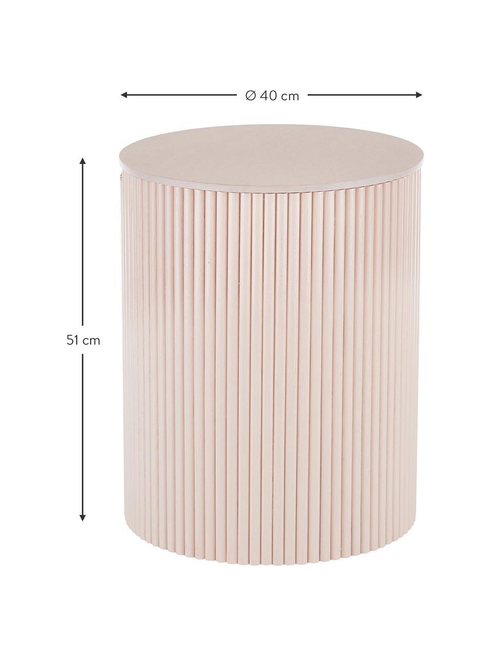 Houten bijzettafel Nele met opbergruimte, MDF met essenhoutfineer, Roze, Ø 40 x H 51 cm