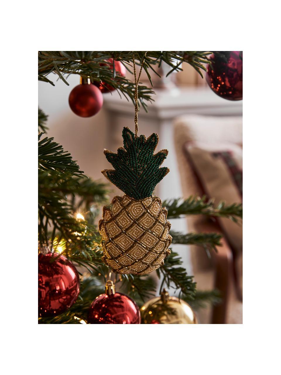 Baumanhänger Pineapple H 16 cm, Gelb, Grün, Goldfarben, 7 x 16 cm