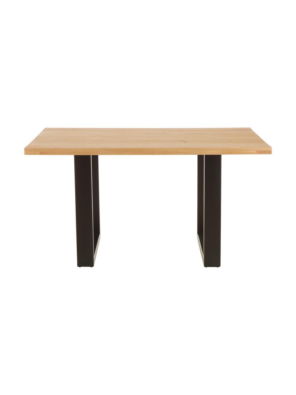 Eettafel Oliver met massief houten blad, Zitvlak: geolied massief wild eike, Poten: gepoedercoat metaal, Wild eiken, zwart, B 180 x D 90 cm