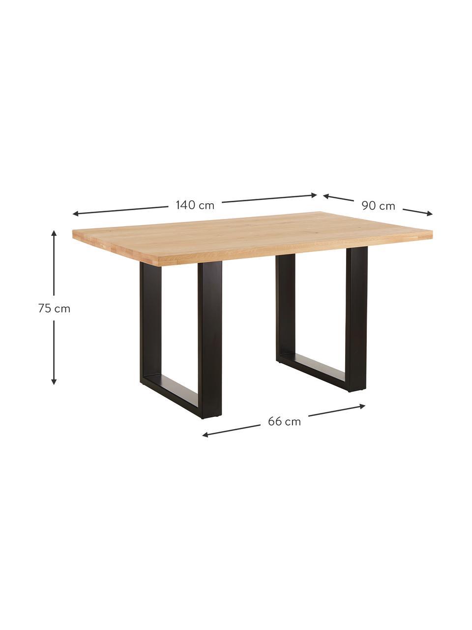 Stół do jadalni  z litego drewna Oliver, Blat: listwy z litego drewna z , Nogi: metal malowany proszkowo, Dzikie drewno dębowe, czarny, S 180 x G 90 cm