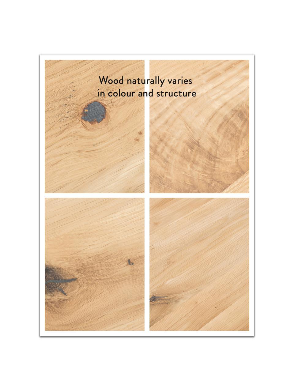 Stół do jadalni  z litego drewna Oliver, Blat: listwy z litego drewna z , Nogi: metal malowany proszkowo, Dzikie drewno dębowe, czarny, S 160 x G 90 cm