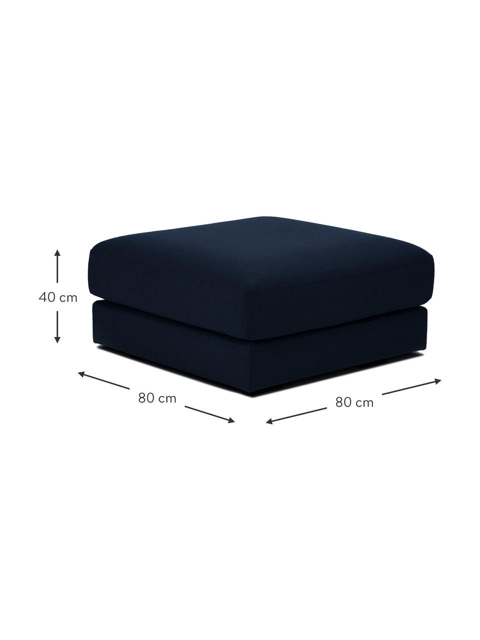 Poggiapiedi da divano in tessuto blu scuro Tribeca, Rivestimento: 100% poliestere Il rivest, Struttura: legno massiccio di faggio, Piedini: legno massiccio di faggio, Tessuto blu scuro, Larg. 80 x Alt. 40 cm