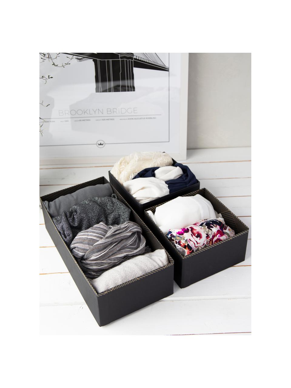 Organizer Drawer, Solido, cartone laminato, Dorato, grigio scuro, Larg. 36 x Alt. 10 cm