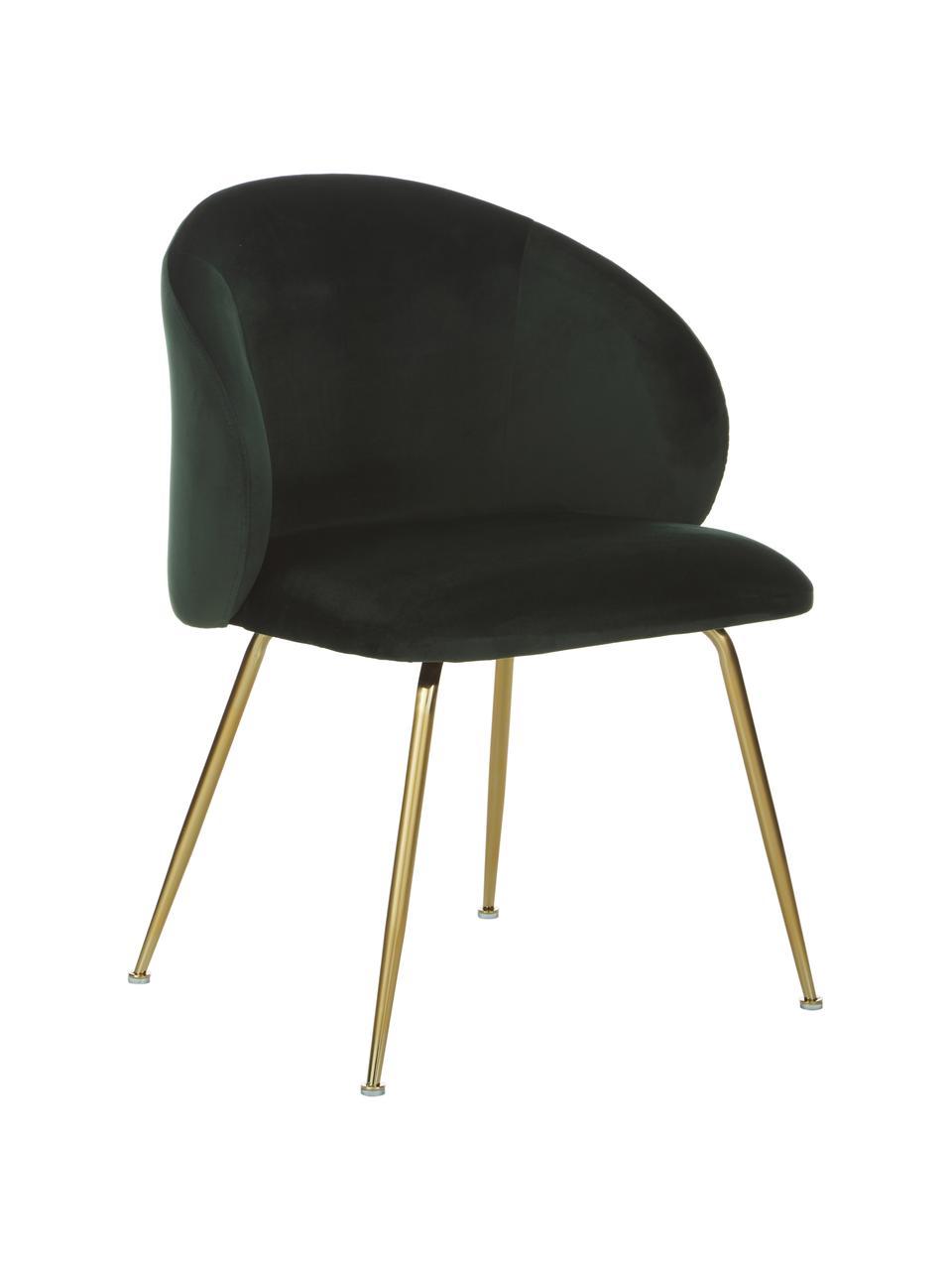 Krzesło tapicerowane z aksamitu Luisa, 2 szt., Nogi: metal lakierowany, Aksamitny ciemny zielony, złoty, S 59 x G 58 cm