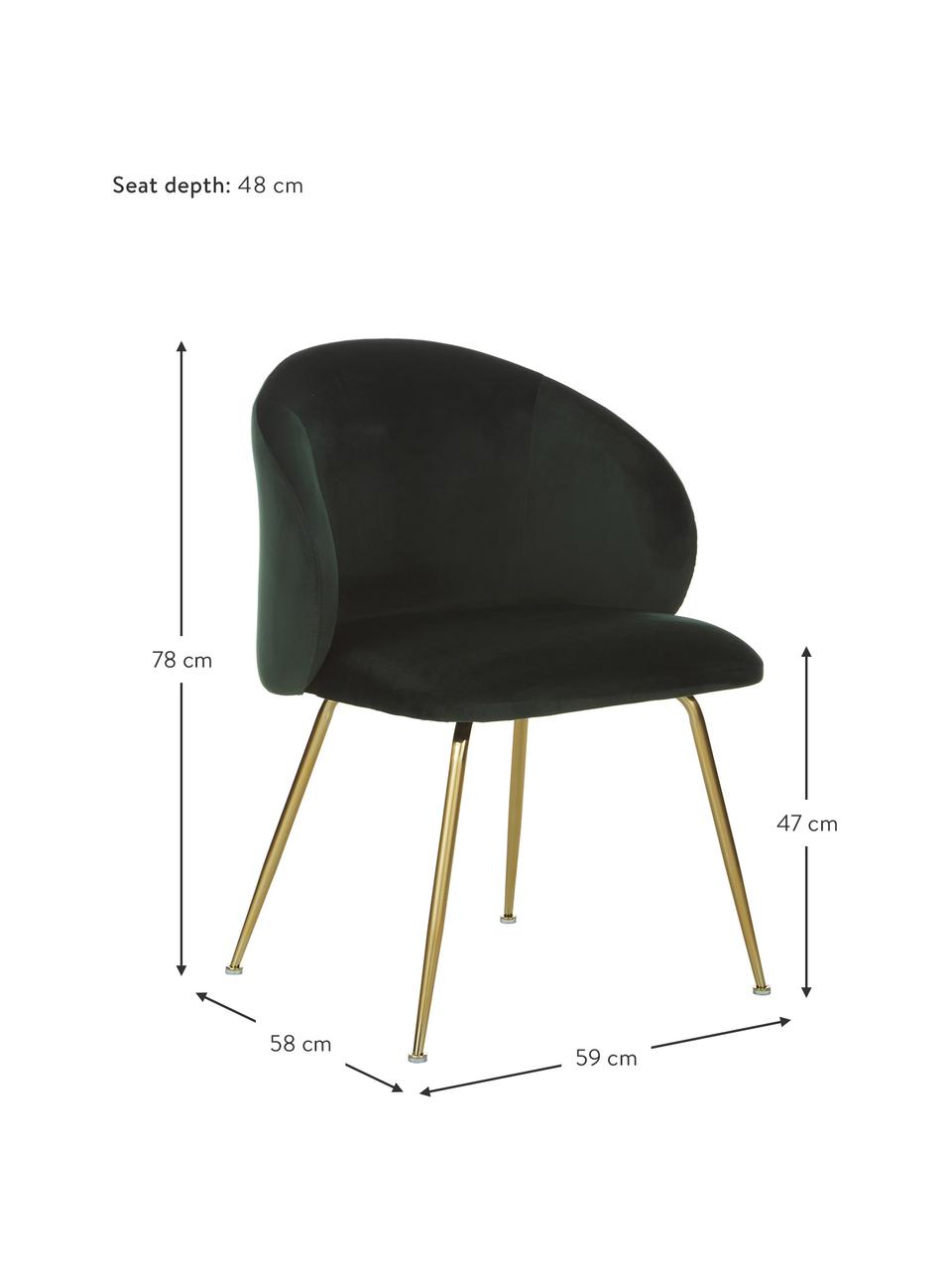 Sedia imbottita in velluto Luisa 2 pz, Rivestimento: velluto (100% poliestere), Gambe: metallo verniciato, Velluto verde scuro, oro, Larg. 59 x Prof. 58 cm