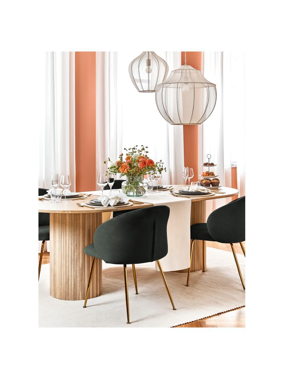 Fluwelen stoelen Luisa, 2 stuks, Bekleding: fluweel (100% polyester), Poten: gelakt metaal, Fluweel donkergroen, goudkleurig, 59 x 58 cm