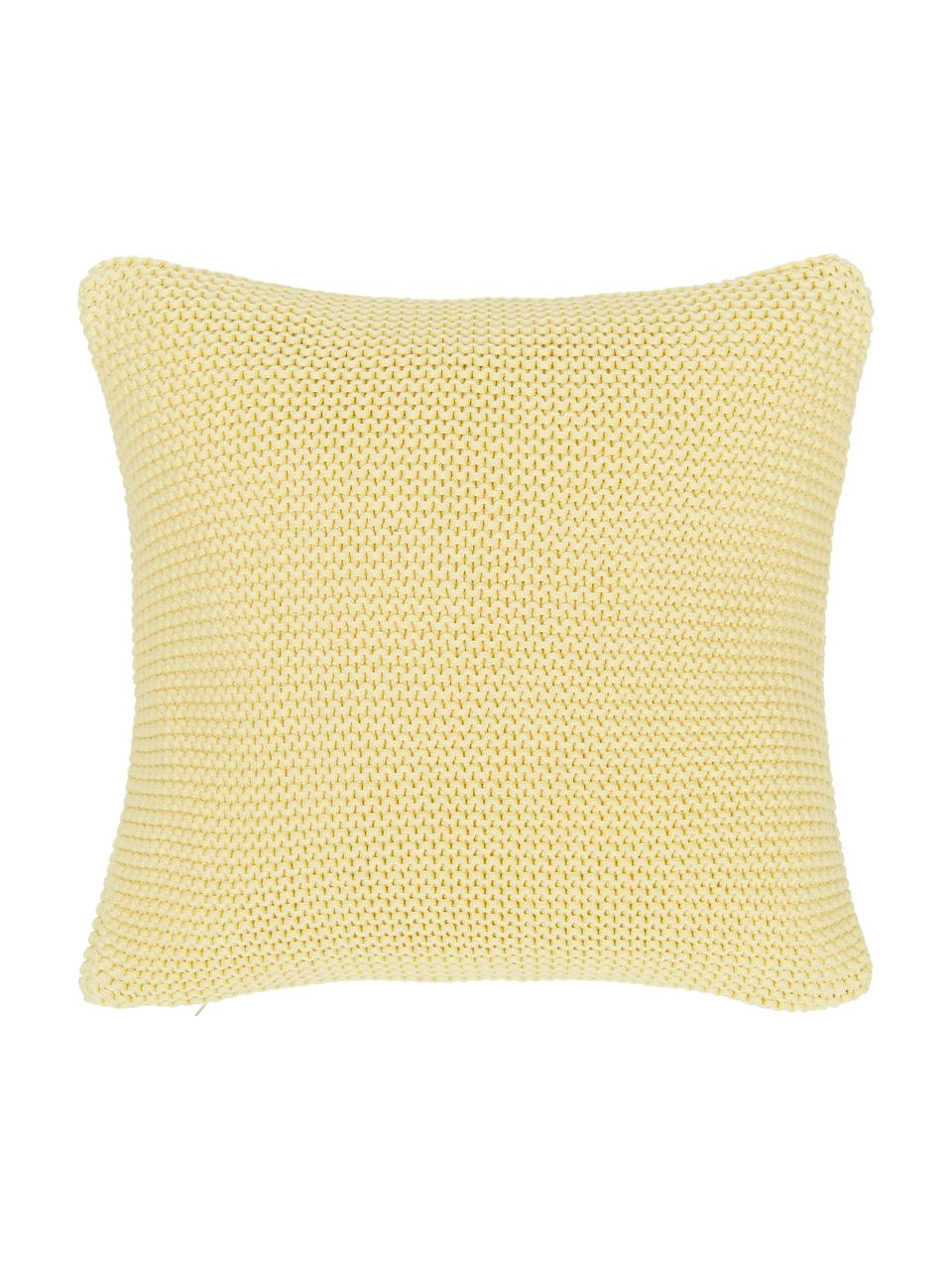 Strick-Kissenhülle Adalyn aus Bio-Baumwolle in Hellgelb, 100% Bio-Baumwolle, GOTS-zertifiziert, Hellgelb, 40 x 40 cm