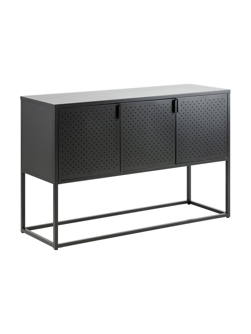 Metall-Sideboard Newton mit Türen in Schwarz, Metall, pulverbeschichtet, Schwarz, 120 x 80 cm