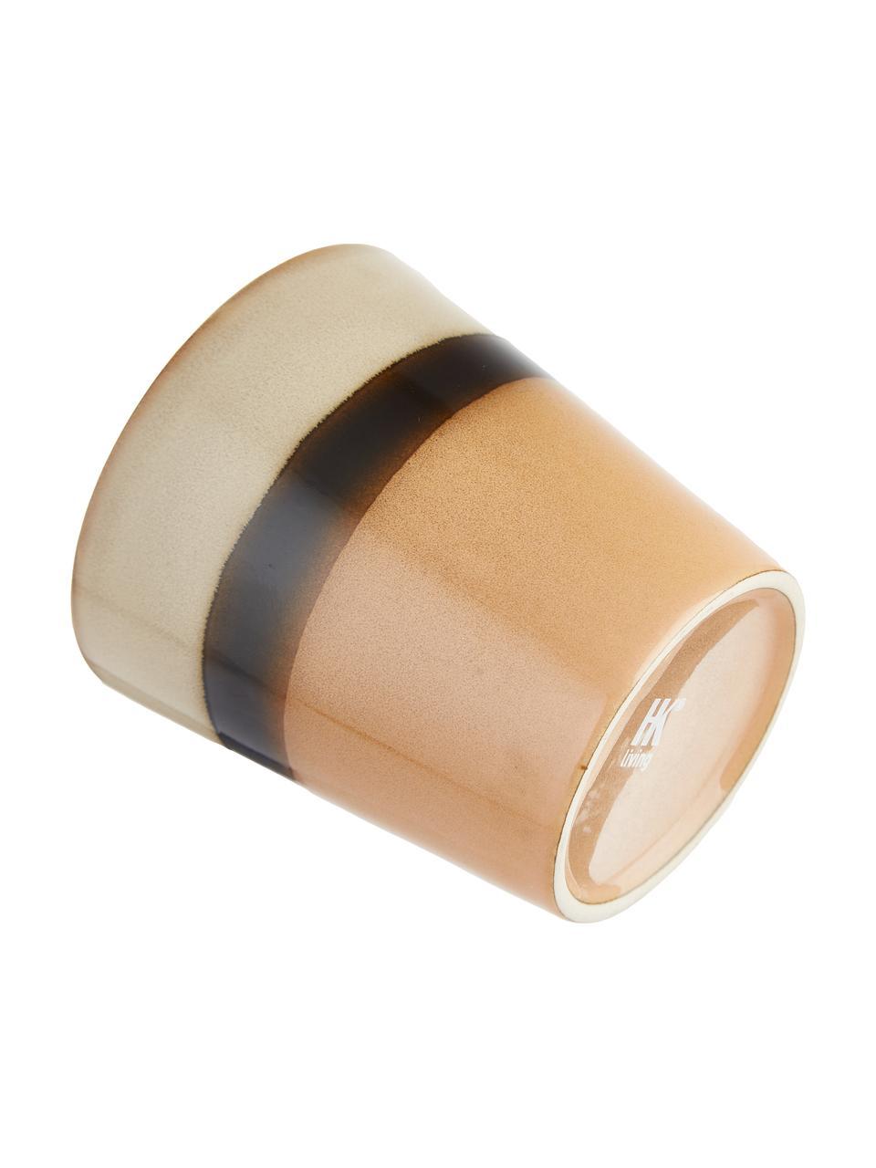 Handgemaakte XS bekerset 70's in retro stijl, 4-delig, Keramiek, Bruin, perzikkleurig, crèmekleurig, Ø 8 x H 8 cm