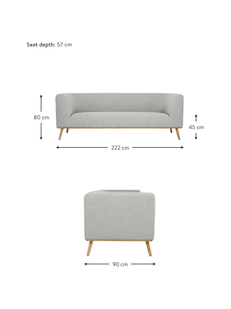 Sofa Archie (3-Sitzer) in Hellgrau mit Eichenholz-Füßen, Bezug: 100% Wolle 30.000 Scheuer, Gestell: Kiefernholz, Füße: Massives Eichenholz, geöl, Webstoff Hellgrau, B 222 x T 90 cm