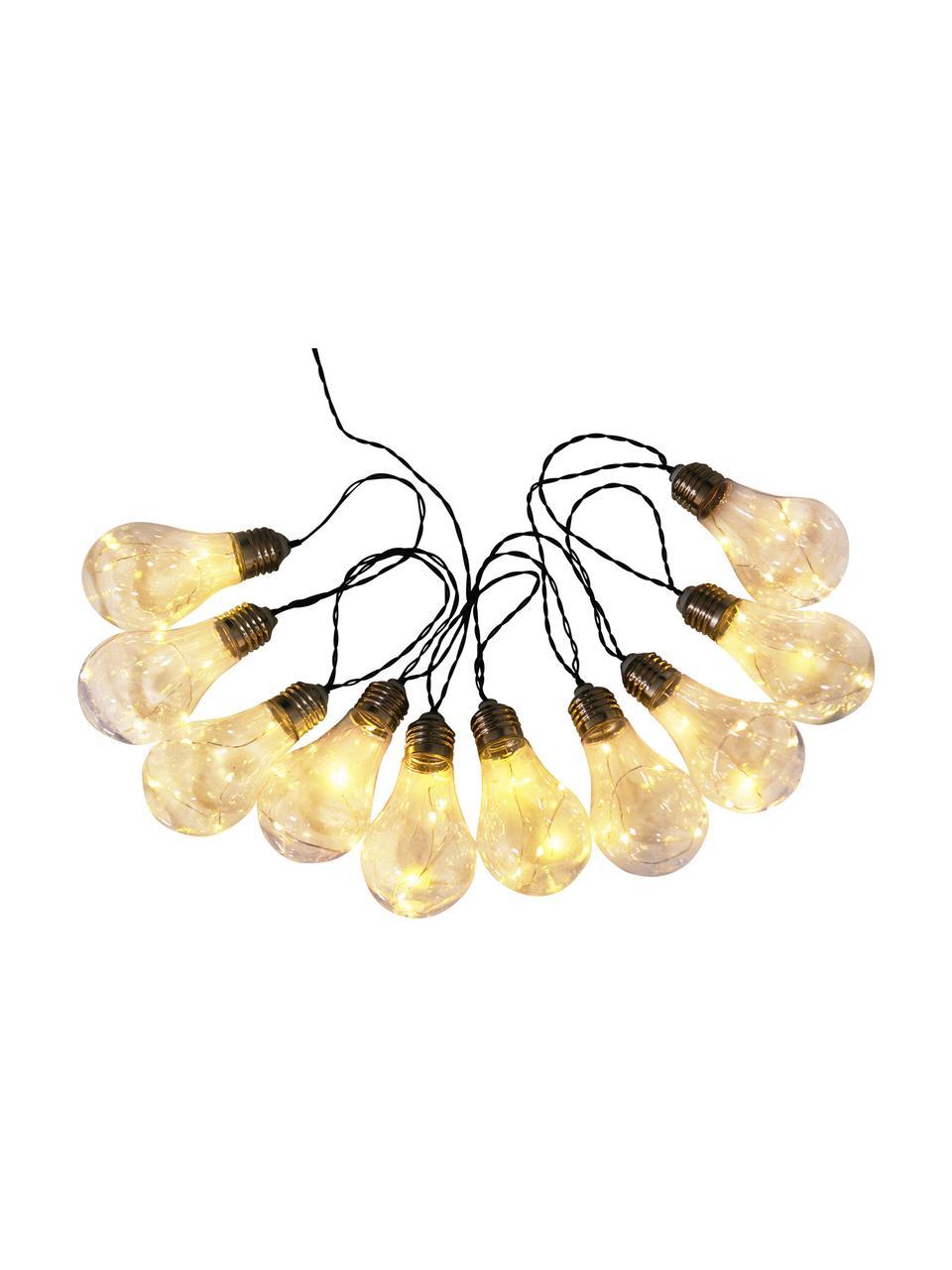 Ghirlanda solare a LED Martin, 300 cm, 10 lampioni, Lampadine: trasparente con effetto scheggiato Montature: nichel, Lung. 300 cm
