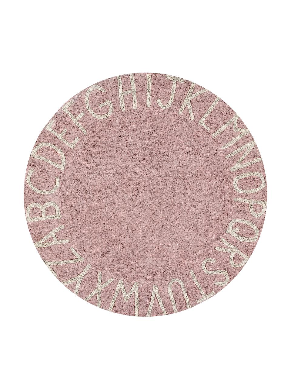 Tapis rond design letters ABC, Rose, beige
