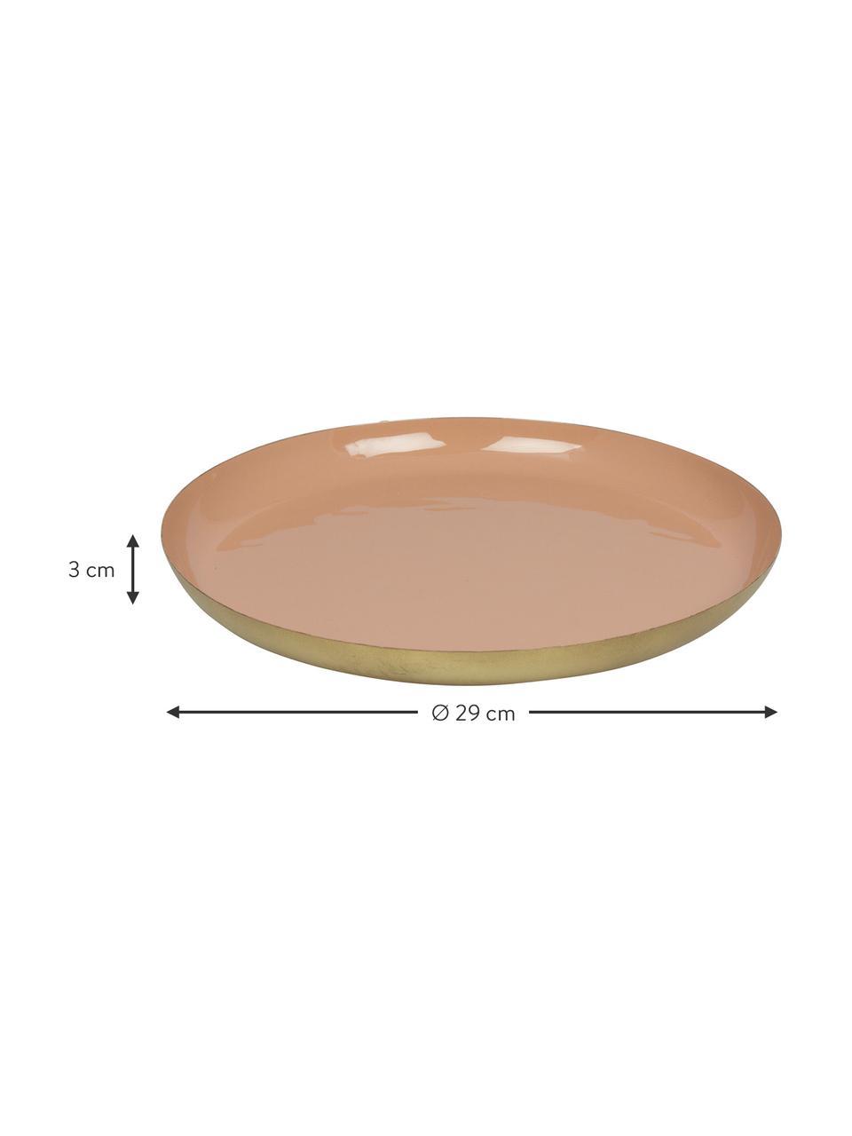 Deko-Tablett Julienne, Metall, beschichtet, Innen: PinkAußen: Goldfarben, Ø 29 x H 3 cm