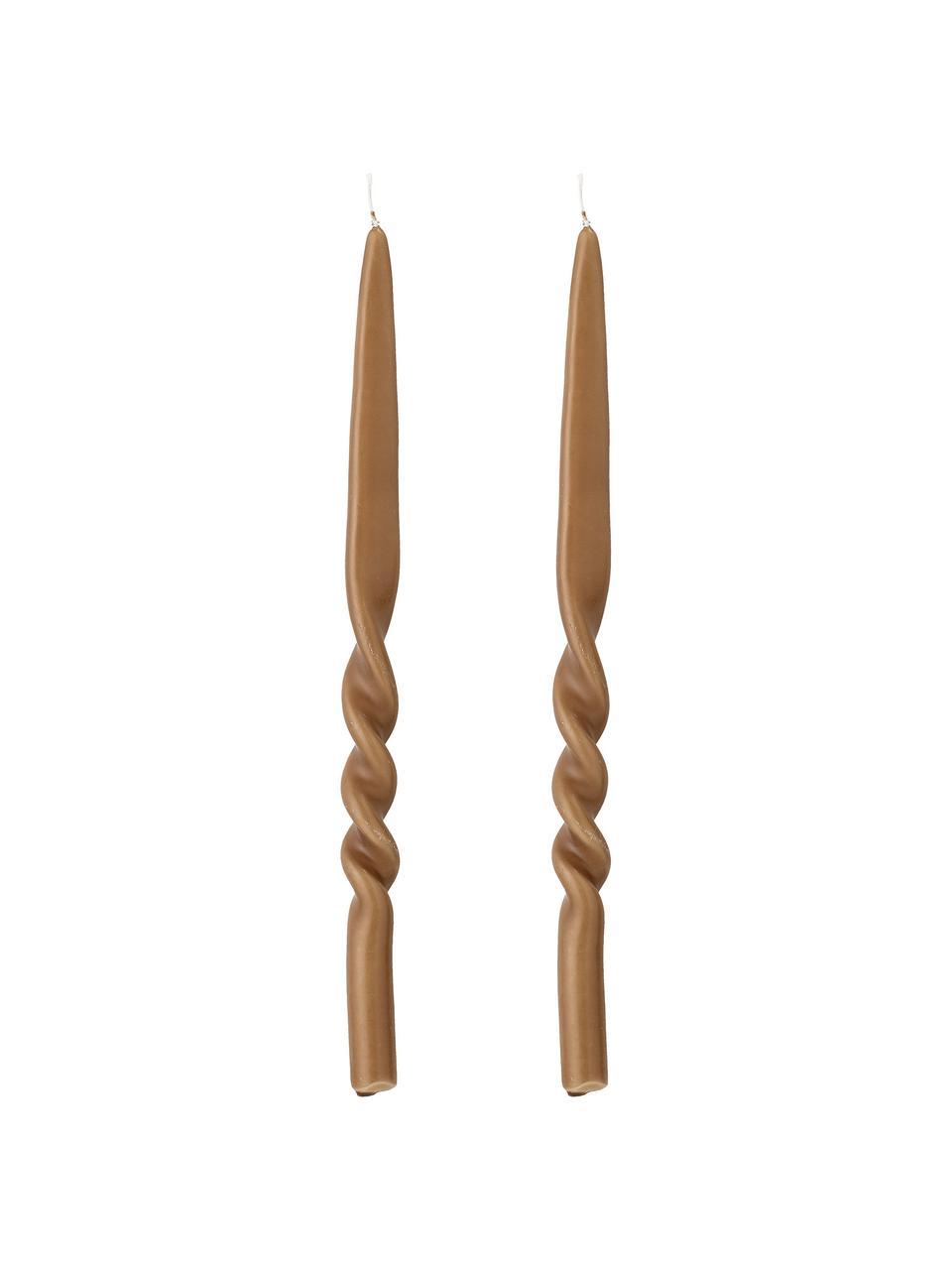 Stabkerzen Twist, 2 Stück, Wachs, Braun, Ø 2 x H 40 cm