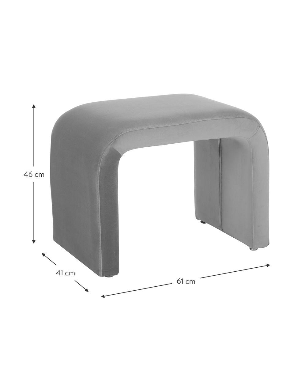 Stołek z aksamitu Penelope, Tapicerka: aksamit (poliester) 2500, Stelaż: metal, płyta wiórowa, Szary, S 61 x W 46 cm