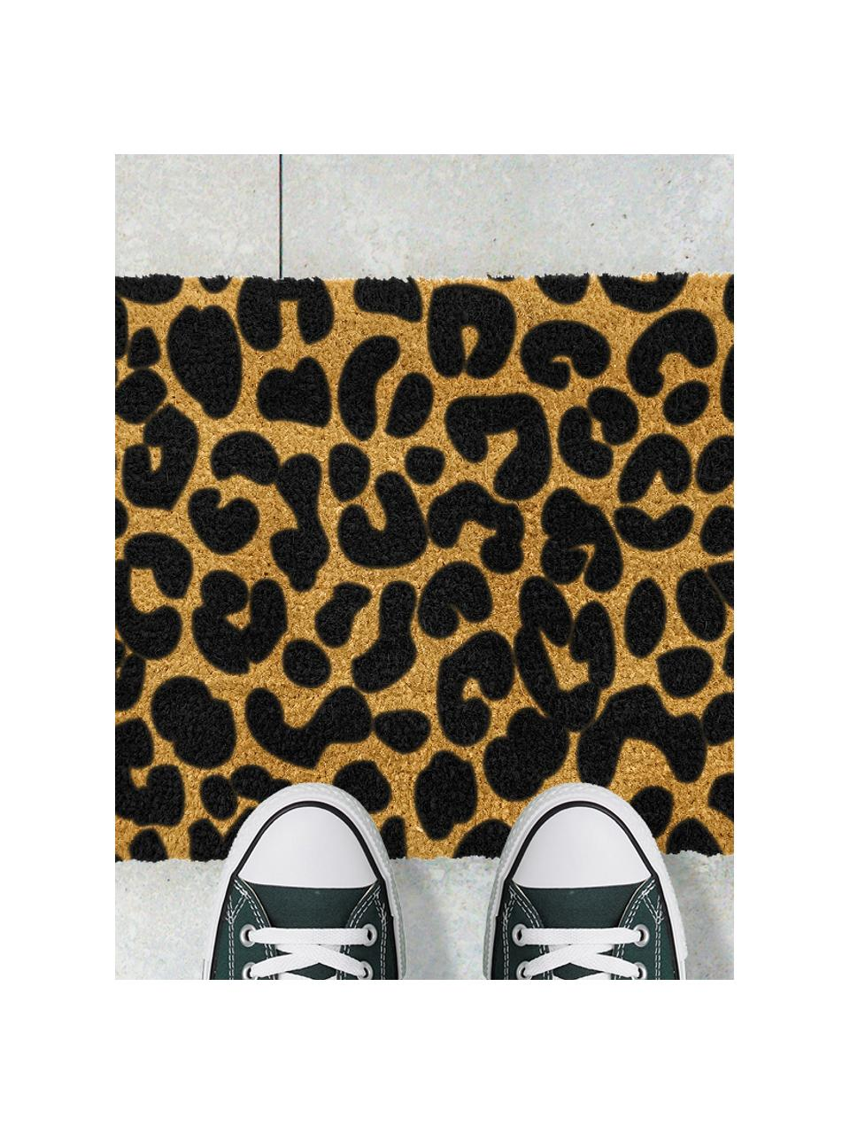 Zerbino in cocco leopardato Leopard, Retro: PVC, Beige, nero, Larg. 40 x Lung. 60 cm