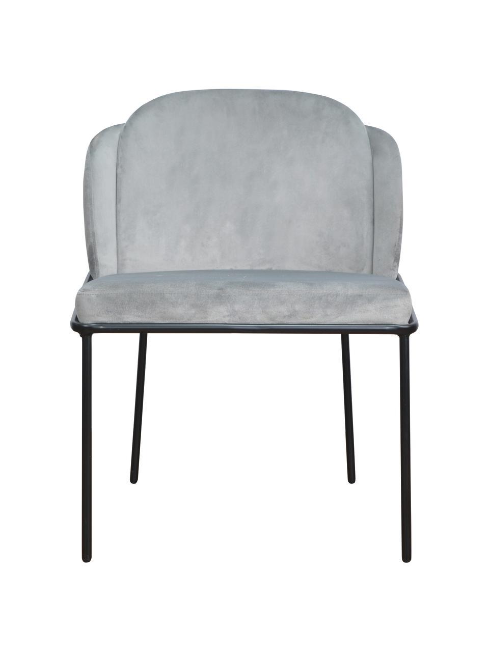 Krzesło tapicerowane z aksamitu Polly, Tapicerka: aksamit (100% poliester), Nogi: metal, Aksamitny jasny szary, nogi: czarny, S 57 x G 55 cm