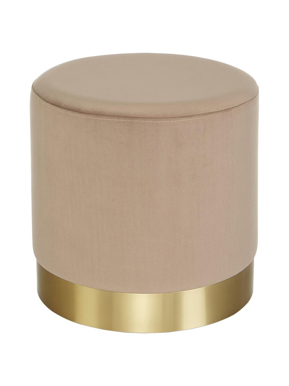 Puf z aksamitu Orchid, Tapicerka: aksamit (100% poliester) , Aksamitny taupe, odcienie złotego, Ø 38 x W 38 cm