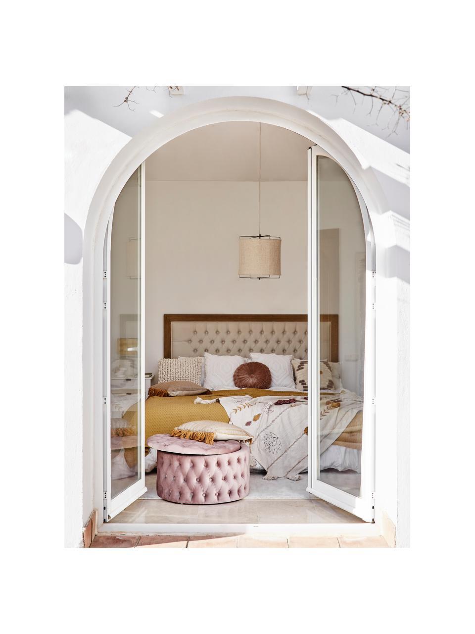 XL fluwelen poef Chiara met opbergruimte, Bekleding: fluweel (polyester), Frame: eucalyptushout, Roze, Ø 70 x H 42 cm