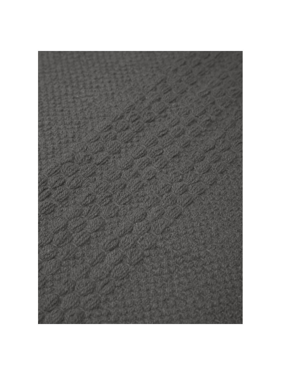 Dywan z bawełny z frędzlami Tanya, 100% bawełna, Ciemnyszary, S 200 x D 300 cm (Rozmiar L)
