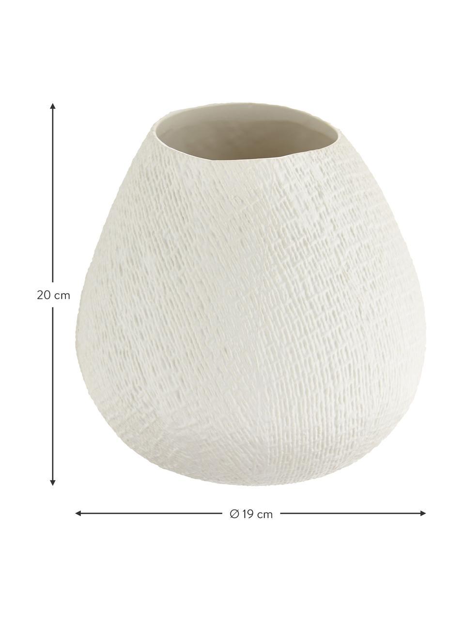 Kleine handgemachte Vase Wendy, Keramik, Cremeweiß, matt, Ø 19 x H 20 cm