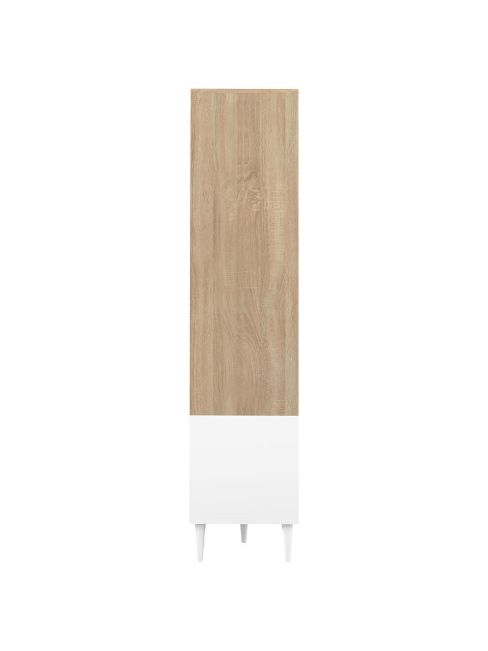 Standregal Horizon in Weiß mit Eichenholz-Optik, Füße: Buchenholz, massiv, lacki, Eichenholz, Weiß, 90 x 180 cm