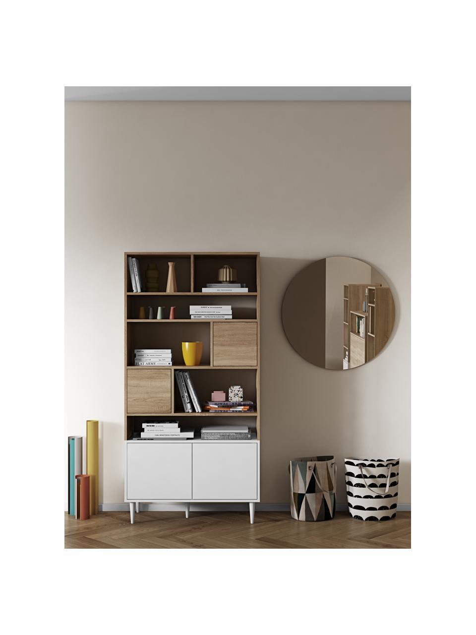 Regał z imitacją drewna dębowego Horizon, Korpus: płyta wiórowa pokryta mel, Nogi: lite drewno bukowe, lakie, Drewno dębowe, biały, S 90 x W 180 cm