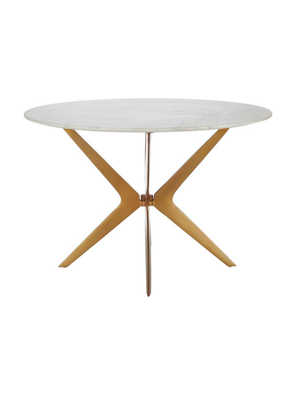Runder Marmor-Esstisch Safia, Tischplatte: Marmor, Beine: Metall, pulverbeschichtet, Tischplatte: Weiß-grauer MarmorGestell: Goldfarben, matt, Ø 120 x H 76 cm