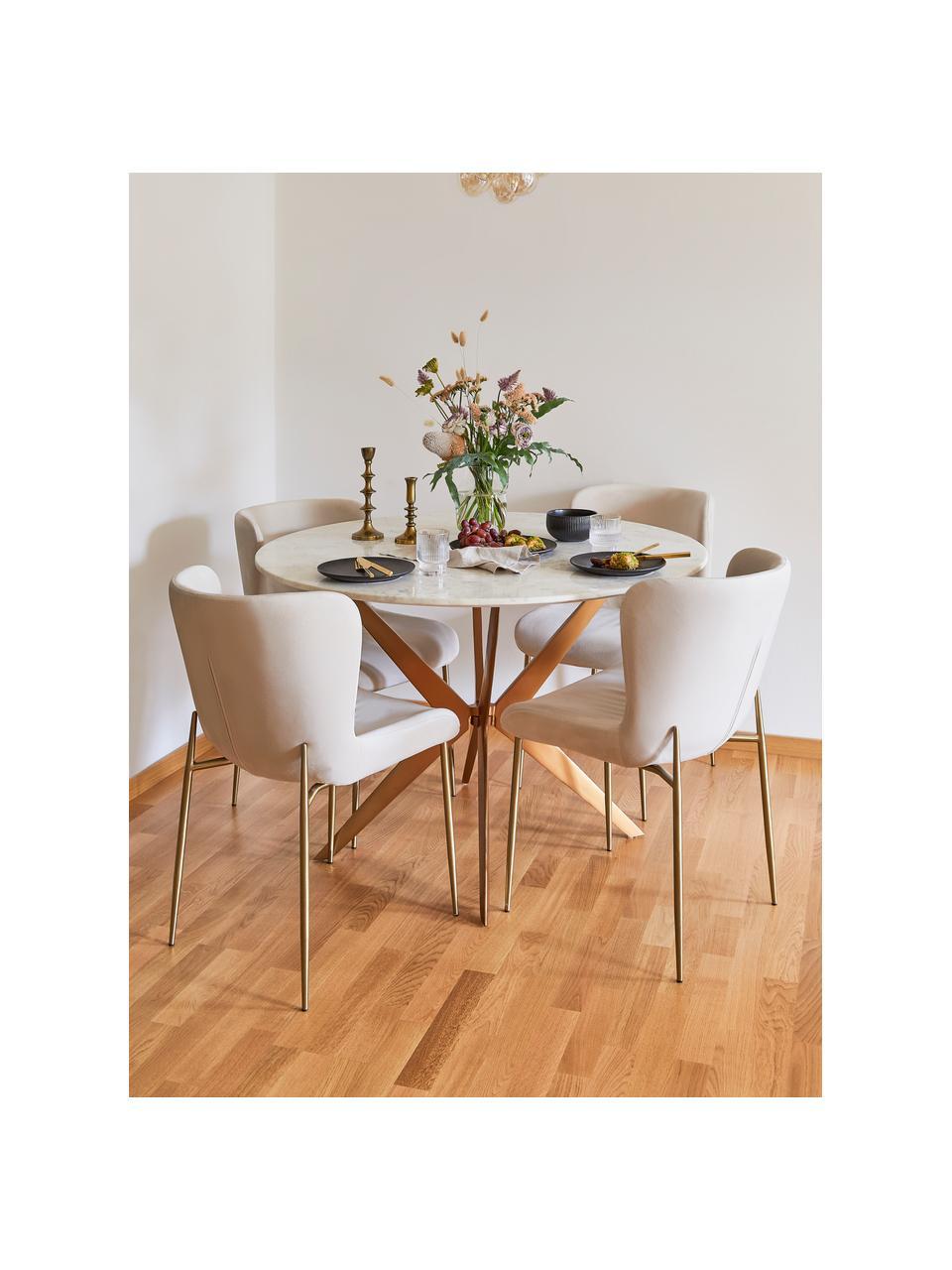 Okrągły stół do jadalni z marmuru Safia, Blat: marmur, Nogi: metal malowany proszkowo, Blat: białoszary marmur Stelaż: odcienie złotego, matowy, Ø 120 x W 76 cm