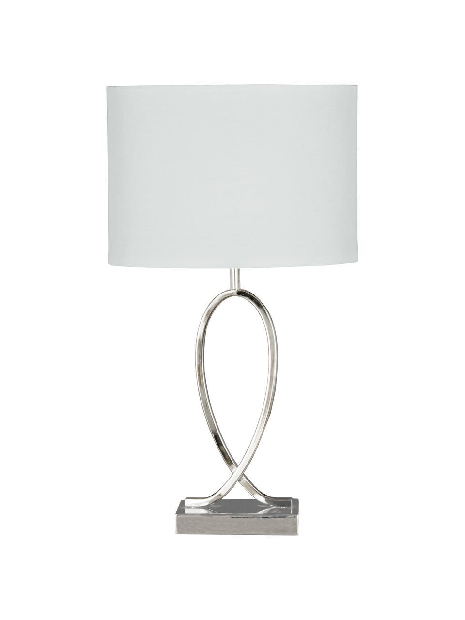 Große Tischlampe Posh mit ovalem Schirm, Lampenschirm: 40% Acryl, 60% Polyester, Lampenfuß: Metall, verchromt, Chrom, Weiß, 30 x 54 cm