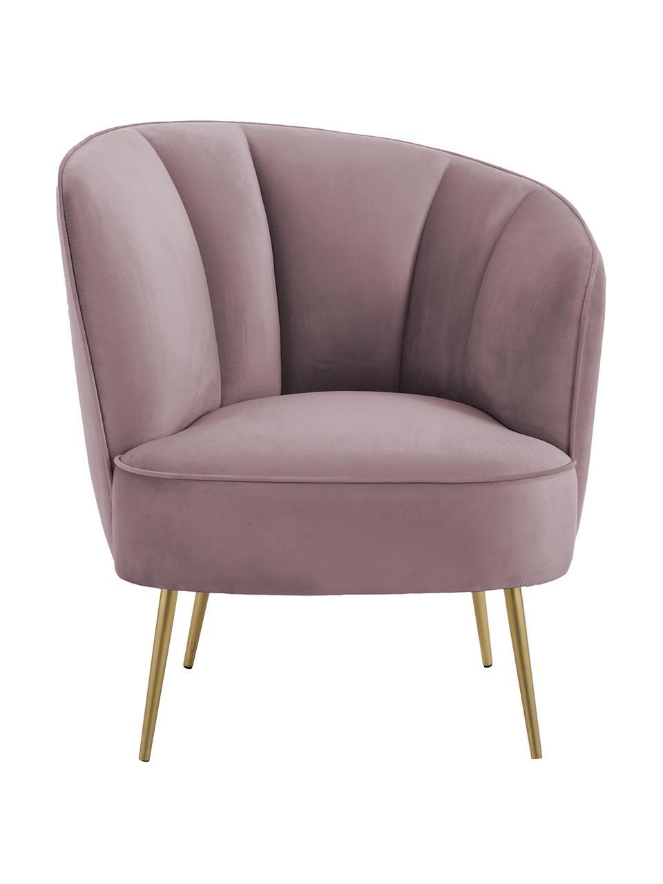 Fluwelen fauteuil Louise in mauve, Bekleding: fluweel (polyester), Poten: gecoat metaal, Fluweel mauve, B 76 x D 75 cm