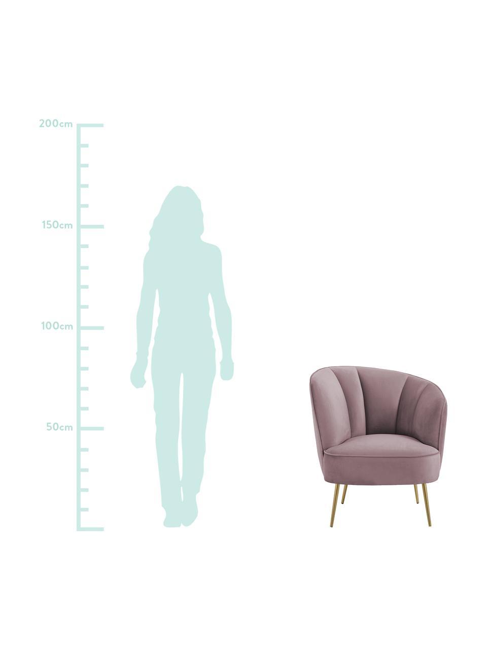 Fotel koktajlowy z aksamitu Louise, Tapicerka: aksamit (poliester) Dzięk, Aksamitny mauve, S 76 x G 75 cm