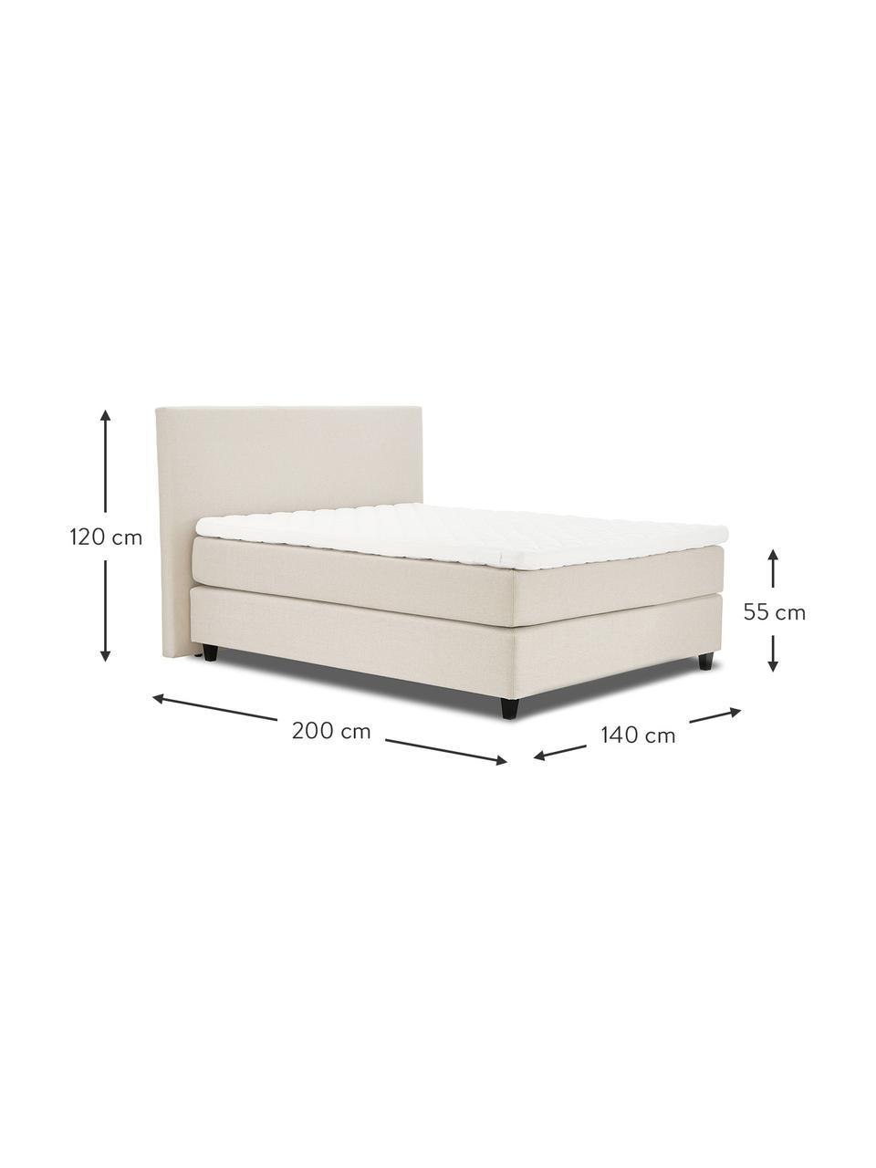 Premium boxspring bed Eliza in beige, Matras: 5-zones pocketvering, Poten: massief gelakt berkenhout, Geweven stof beige, 180 x 200 cm