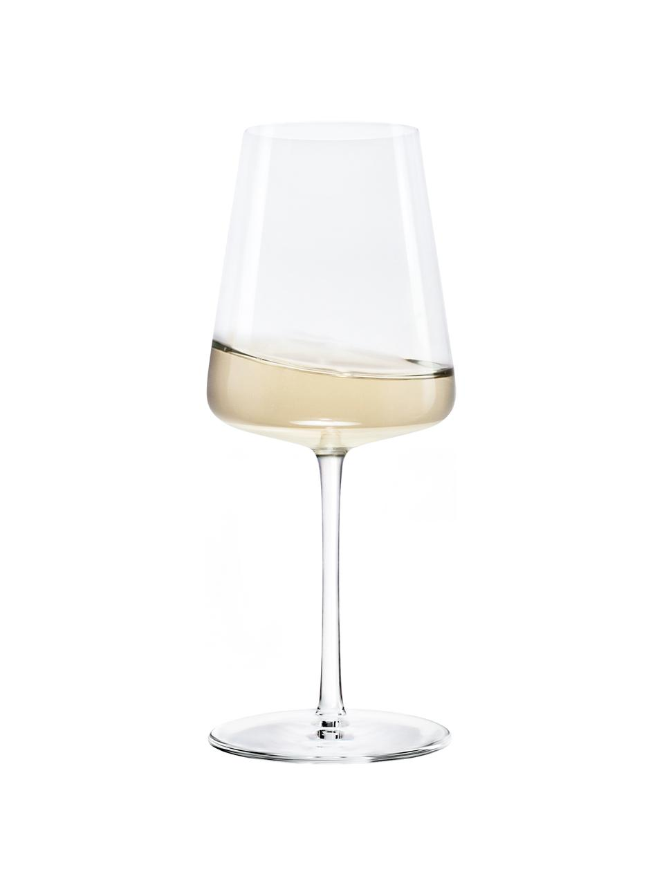Witte wijnglazen Power in kegelvorm, 6 stuks, Kristalglas, Transparant, Ø 9 x H 21 cm