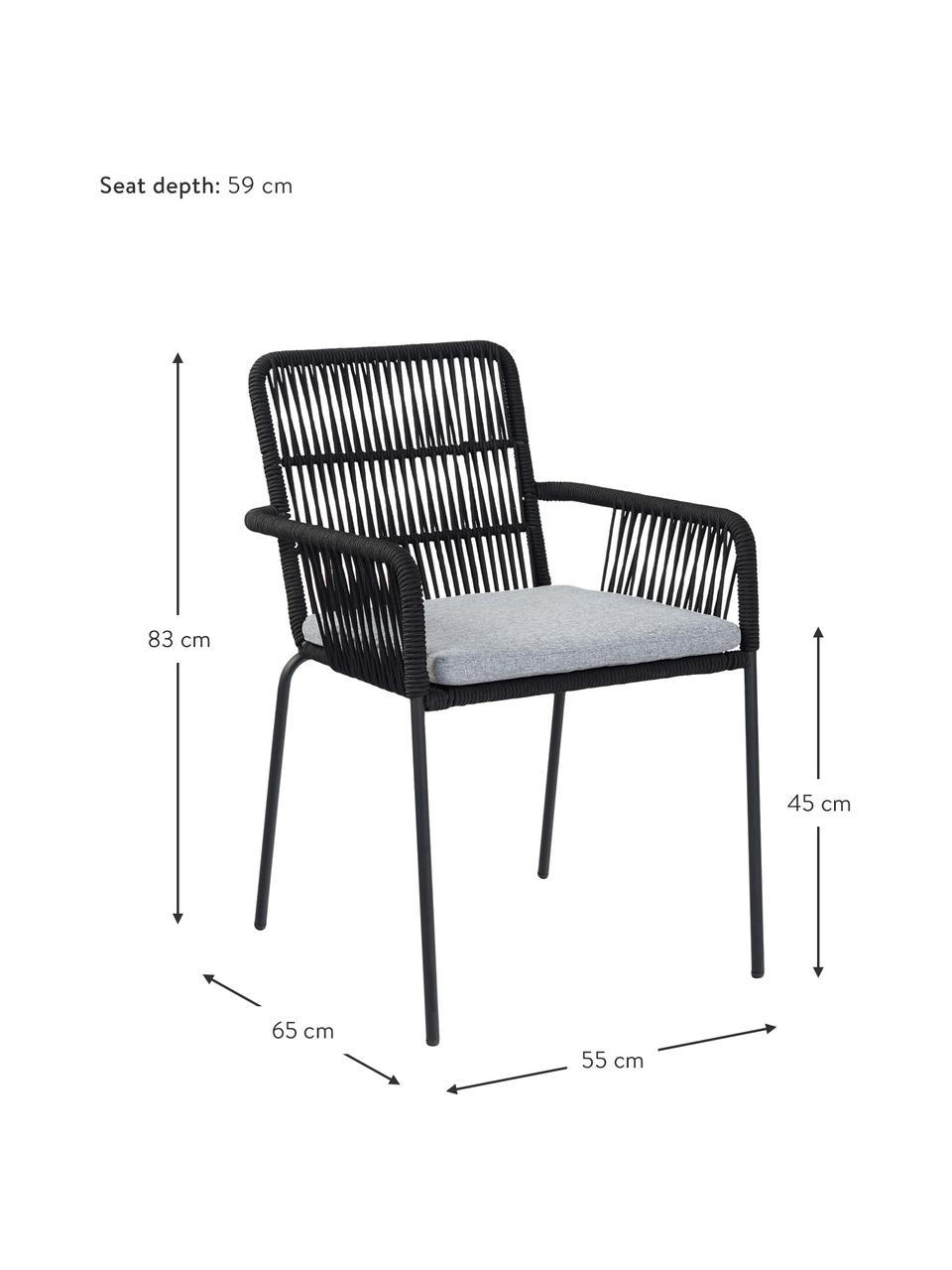 Armlehnstühle Sando, 2 Stück, Sitzfläche: Polyethylen-Geflecht, Gestell: Metall, pulverbeschichtet, Schwarz, Hellbeige, B 55 x T 65 cm
