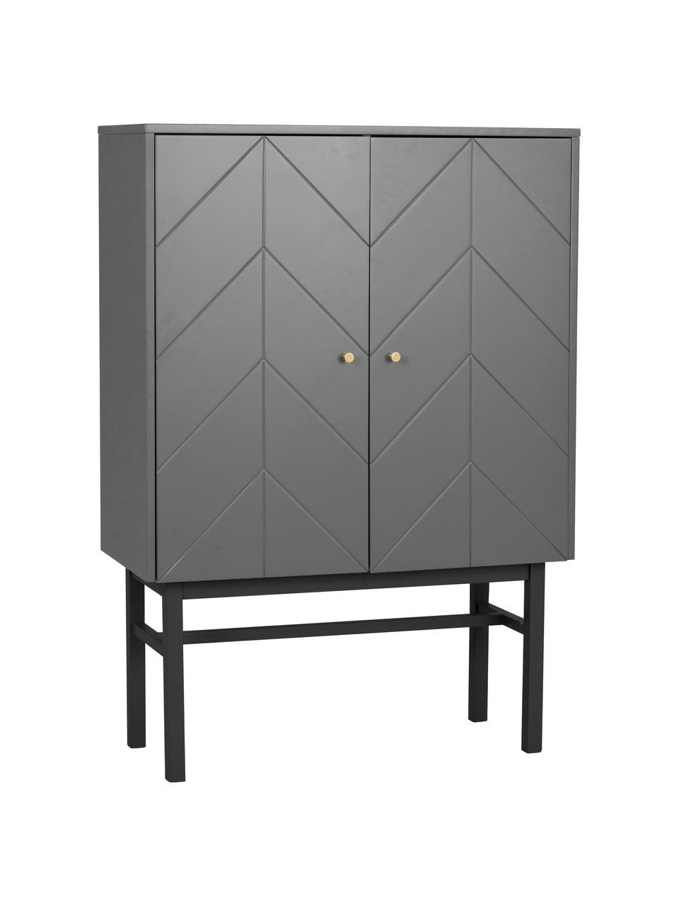 Highboard Webster mit Türen in Grau, Korpus: Mitteldichte Holzfaserpla, Beine: Gummibaumholz, massiv, Grau, Anthrazit, 94 x 135 cm