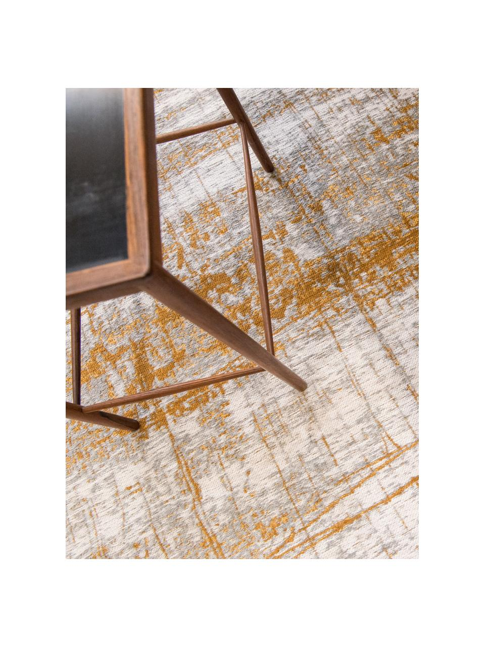 Design Teppich Griff im Vintage Style, Flor: 85%Baumwolle, 15%hochgl, Webart: Jacquard, Grau, Goldfarben, Weiß, B 170 x L 240 cm (Größe M)